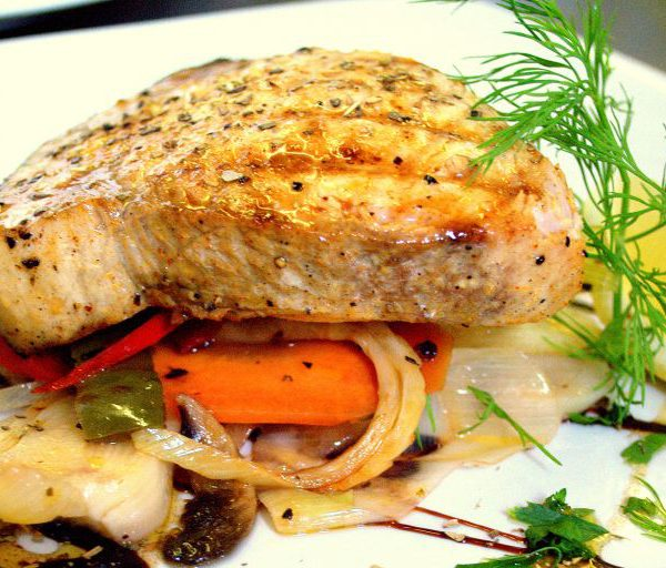 Image of Fresh Ksifias Chargrilled sword fish basted with lemon & extra virgin olive oil. Served with vegetables.